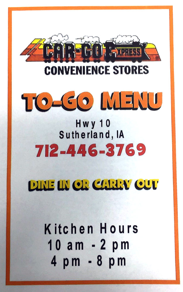 car-go express sutherland food menu